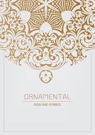 Illustration for Ornamental element for design, Traditional gold decor. Ornamental vintage frame for wedding invitations and greeting cards. - Royalty Free Image