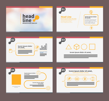 presentation template flat design set for brochure flyer marketing and advertising and icon'
