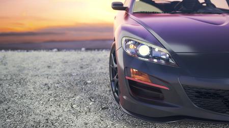 Photo pour Close-luxury cars as the sun sets behind the scenes. - image libre de droit