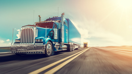 Photo pour The truck runs on the highway with speed. 3d render and illustration. - image libre de droit