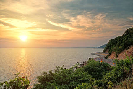 Coastal road sea at Khung Viman bay at sunset, Chanthaburi, Thailand