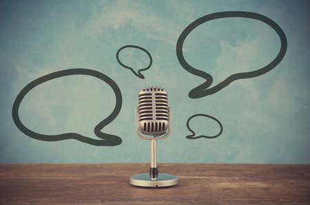Photo for Retro style microphone with blank balloons text box - Royalty Free Image