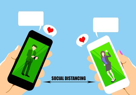 Photo for drawing of social distancing by using mobile phone on blue background. - Royalty Free Image