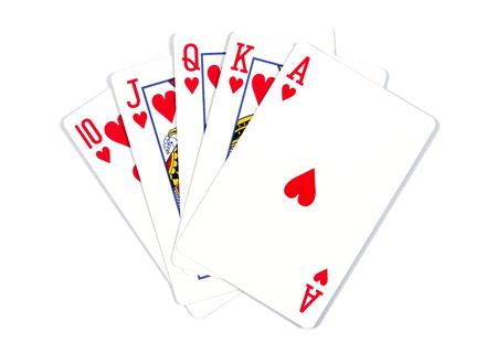 Foto de Playing cards - isolated on white background.Royal flush. Playing cards isolated on a white background - Imagen libre de derechos