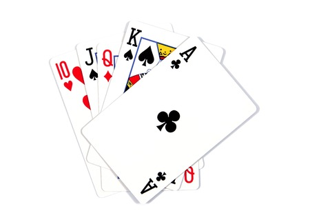 Photo pour Playing cards - isolated on white background.Royal flush. Playing cards isolated on a white background - image libre de droit