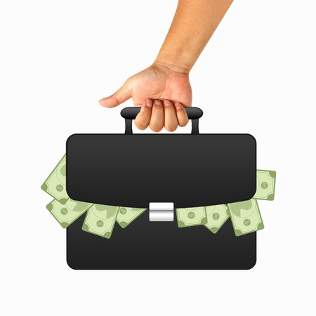 Hand with black briefcase and money