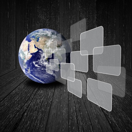 Photo for Flying transparent button with earth globe on wood background - Royalty Free Image