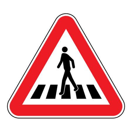 Illustration for Pedestrian crossing sign. Human figure walks on zebra crosswalk in red triangular shape - Royalty Free Image