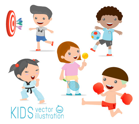 kids and sport, Kids playing various sports on white background , Cartoon kids sports,boxing, football, tennis, karate, Darts, Vector illustration