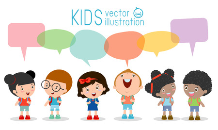 Illustration pour Cute kids with speech bubbles, Set of diverse Kids and Different nationalities with speech bubbles isolated on white background, Kids go to school with speech balloon, back to school, Vector - image libre de droit