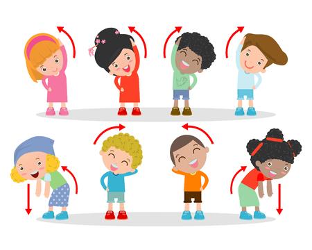 Illustration of Kids Exercising, Kids exercising ,child exercising , happy Kids Exercising