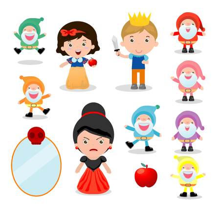 Illustration for snow white and the seven dwarfs, Snow White on white background, prince, Princess and Dwarfs and witch, Vector Illustration - Royalty Free Image