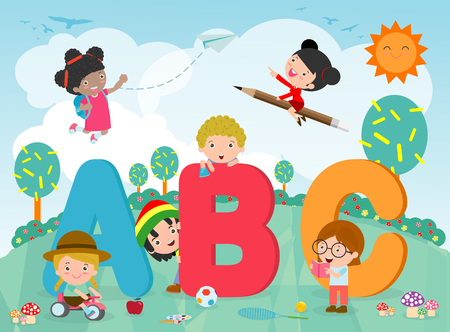 Photo pour cartoon kids with ABC letters, School kids with ABC, children with ABC letters - image libre de droit