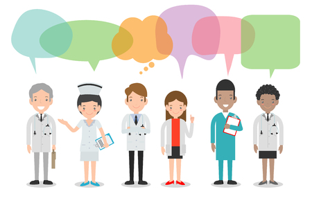 Illustration pour set of doctor,nurses,medicine staff in flat style with speech bubbles, Group of doctors and nurses and medical staff with speech bubbles isolated on white background Vector illustration - image libre de droit