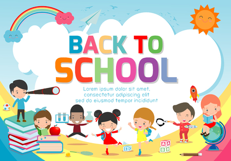 Back To School Banner Background Welcome Back To School Cute School Kids Education Concept Template For Advertising Brochure Your Text Vector Illustration Royalty Free Vector Graphics