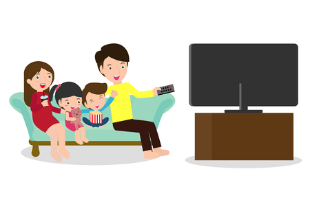 Illustration for Illustration of a Family Watching a TV Show Together, Happy family watching television sitting on the couch at home - Royalty Free Image