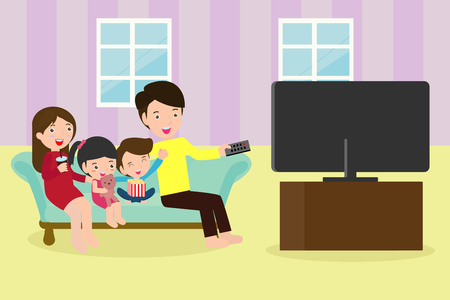 Illustration pour Illustration of a Family Watching a TV Show Together, Happy family watching television sitting on the couch at home - image libre de droit