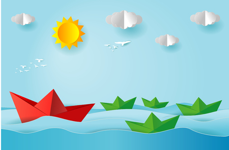 Illustration for origami boat sailing in the ocean, paper art and digital craft style, leadership concept, flat Vector illustration. - Royalty Free Image