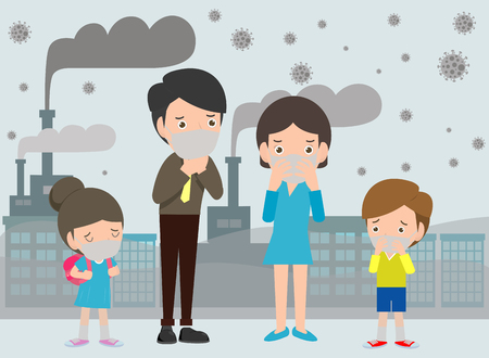 Illustration pour People in masks because of fine dust PM 2.5, man and woman and child,wearing mask against smog. Fine dust, air pollution, industrial smog protection concept flat style design vector illustration. - image libre de droit