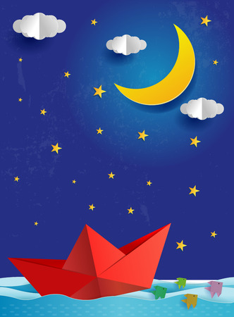 Step instructions how to make origami a moon Vector Image | 450x332