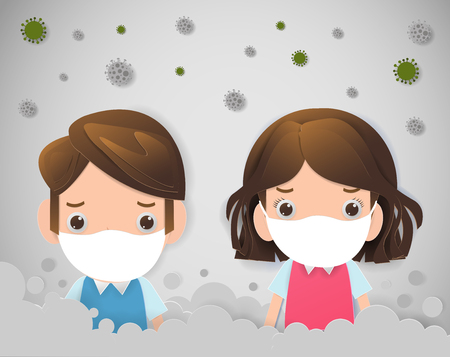 Illustration pour kids in masks because of fine dust PM 2.5, boy and girl wearing mask against smog. Fine dust, air pollution, industrial smog protection concept flat style design vector illustration. - image libre de droit