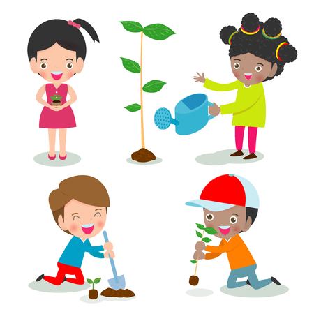 Illustration pour Vector Illustration Of Kids Planting in a park, children are plant trees,cute child volunteers, Save the World isolated on white background Illustrator Vector - image libre de droit