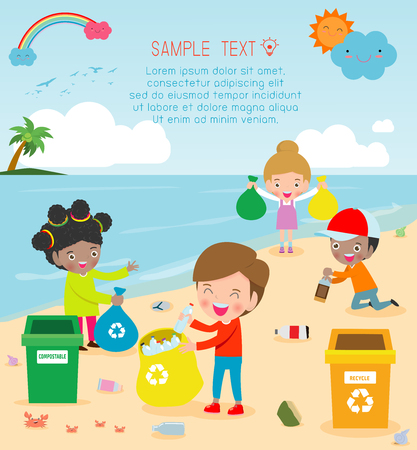 Illustration for Group of Volunteer Children Cleaning Beach,Template for advertising brochure,your text, Save the World, poster background Illustrator Vector - Royalty Free Image
