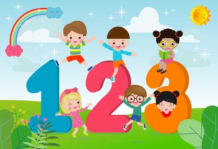 Illustration pour Cartoon kids with 123 numbers, children with Numbers,Vector Illustration - image libre de droit