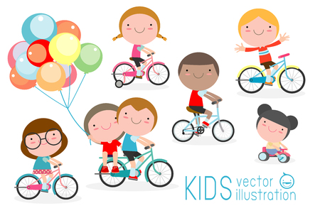 Illustration pour Happy kids on bicycles, Child riding bike,Kids riding bikes, Child riding bike, kids on bicycle vector on white background,Illustration of a group of kids biking on a white background. - image libre de droit