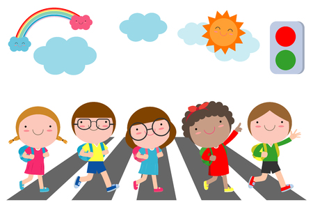 Illustration pour kids across the road, Students walk across the crosswalk with a traffic light, back to school Vector Illustration - image libre de droit