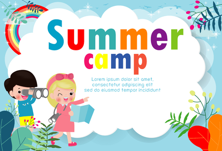 Illustration pour kids summer camp education Template for advertising brochure, children doing activities on camping , poster flyer template, your text ,Vector Illustration - image libre de droit