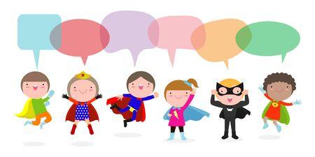 Illustration pour Cute superhero kids with speech bubbles, Set of super hero child with speech bubbles isolated on white background, Vector Illustration - image libre de droit