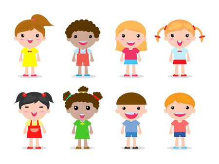 Ilustración de set of kids character on white background vector illustration - Imagen libre de derechos
