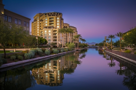 Az Canal in Scottsdale,AZ, USA at Sunset