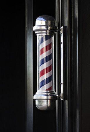 Men's barber hair dressing shop traditional outdoor pole sign helical stripe