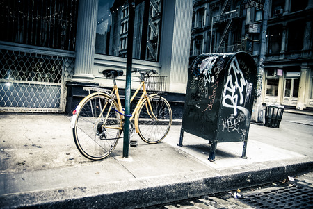 New York City street scene - soho area -bike