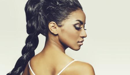 Foto de Profile of beautiful woman face braided hair - Imagen libre de derechos