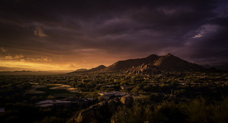 Golden sunset over North Scottsdale,Arizona.