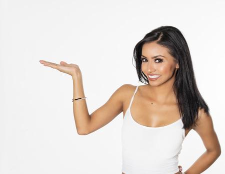 Photo pour Woman pointing holding arm out - image libre de droit