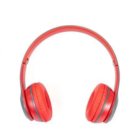 Photo pour The close up of Modern red wireless headphone isolated on white background. - image libre de droit