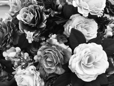 Photo for Fake rose flower black and white color for background - Royalty Free Image
