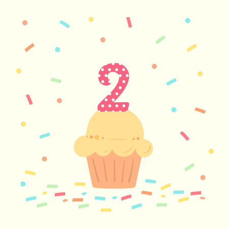 Illustration pour happy second birthday card with cupcake and number two in flat design style, vector illustration. - image libre de droit