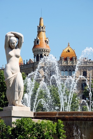 Statue and fountain Placa de Catalunya Barcelona