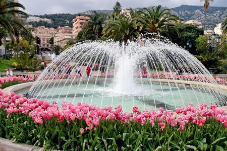 View of the fountain in the park at Monte Carlo