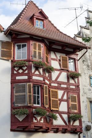 Half timbered building in Eguisheim in Haut-Rhin Alsace France