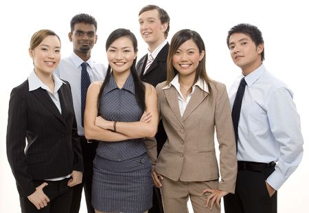 A group of diverse individuals make up a happy business team