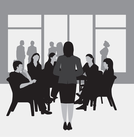 Business meeting, study group, college group, greyscale
