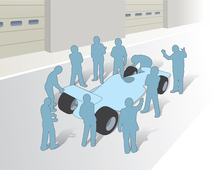 Teamwork and a group in a F1 pitstop