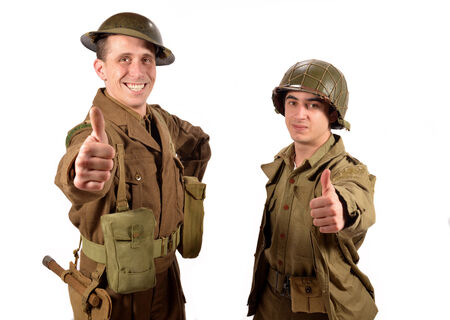 an English soldier and an American soldier are OK on the white background