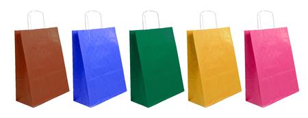Photo pour paper bags of different colors on the white background - image libre de droit